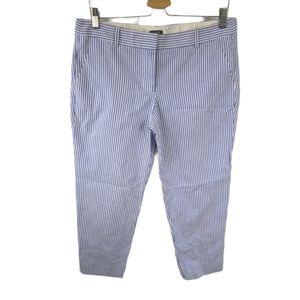 J Crew Seersucker City Fit Cropped Pants Sz 8